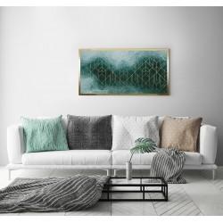 Obraz art deco na zielonej fali