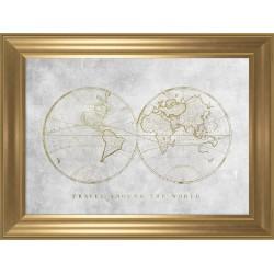 Obraz półkule ziemskie gold