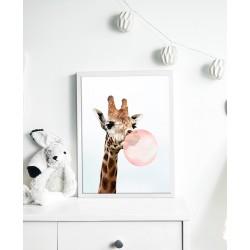 Obraz żyrafa z gumą balonową