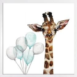 Obraz żyrafa z niebieskimi...