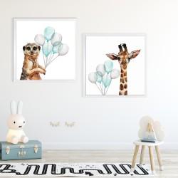 Obraz żyrafa z niebieskimi balonami