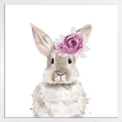Obraz króliczek z różą