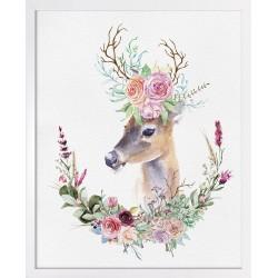 Obraz jeleń w kwiatach