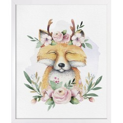 Obraz lisek w kwiatach boho
