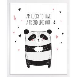 Obraz panda z serduszkami