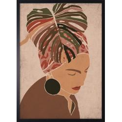 Obraz kobieta pod liściem...