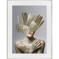 Obraz złota kobieta z piórami