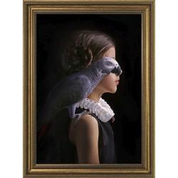 Obraz dziewczynka papuga