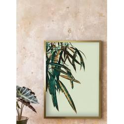 Obraz złote i zielone liście tropikalne I