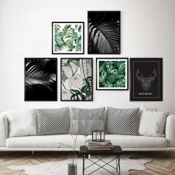 Obraz liście monstery na czarnym