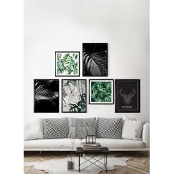 Obraz zielona abstrakcja z monstery I