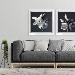 Obraz białe i fioletowe kwiaty I