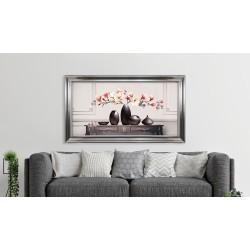 Obraz wazony z kwiatami na konsoli