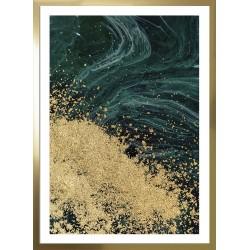 obraz złoty brokat na zieleni