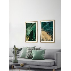Obraz złoty brokat na zieleni II