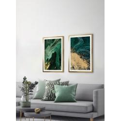 Obraz złoty brokat na zieleni I