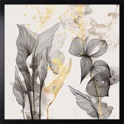 obraz brown linear flowers