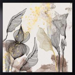 grafika brown linear flowers