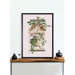Obraz rośliny z kolibrami